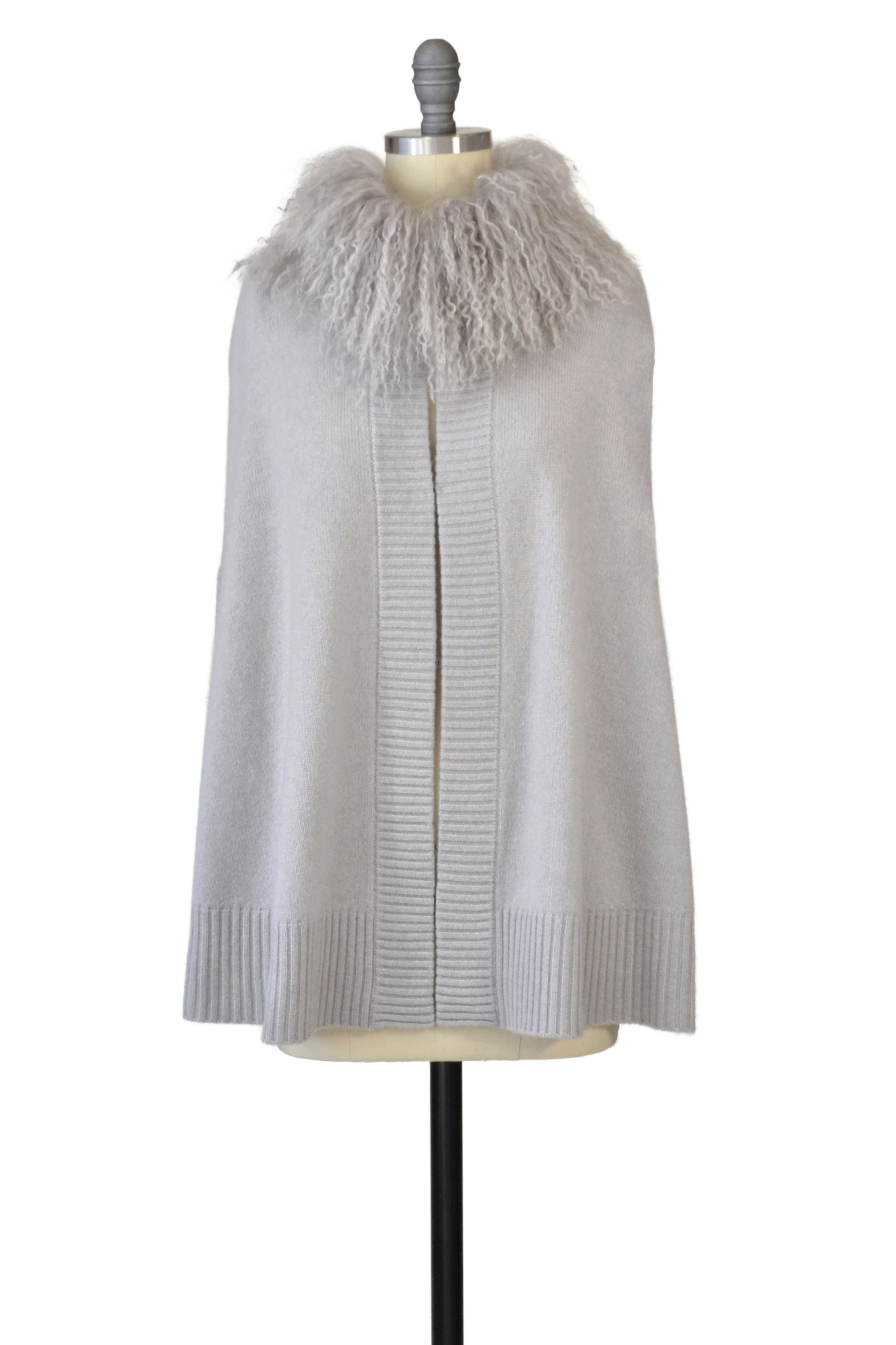 Cashmere Cape Cardigan with Tibetan Sheep Collar in Dove Gray
