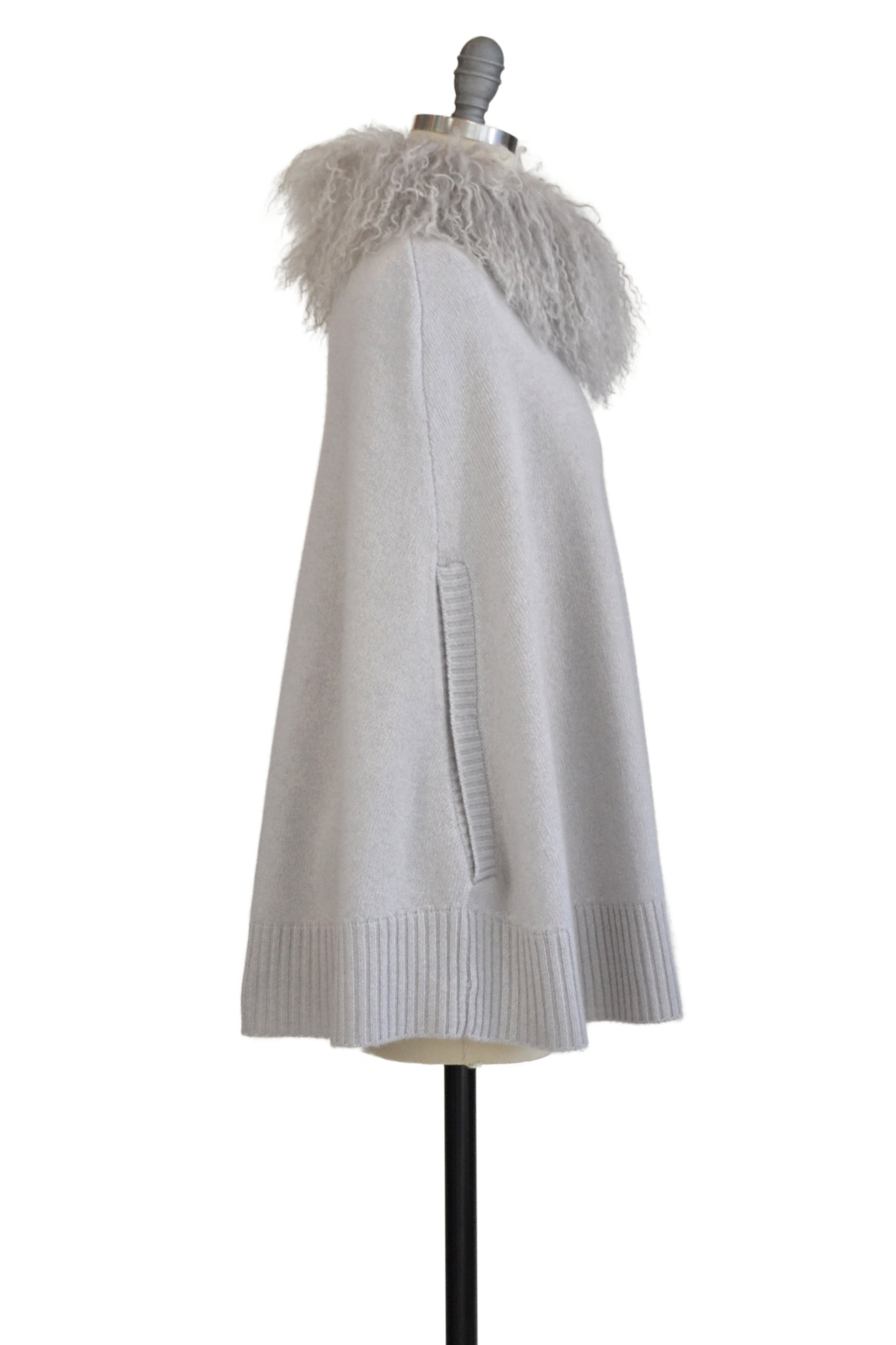 Cashmere Swing Poncho with Tibetan Sheep Collar in Dove Gray
