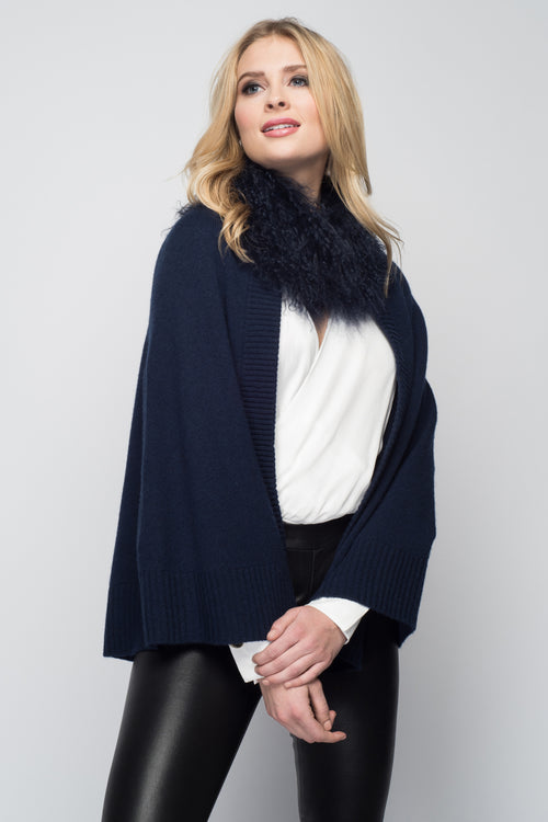 Cashmere Swing Poncho with Tibetan Sheep Collar in Midnight Blue
