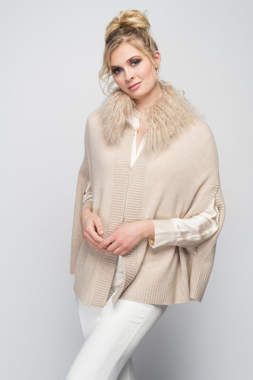 Cashmere Swing Poncho with Tibetan Sheep Collar in Oatmeal