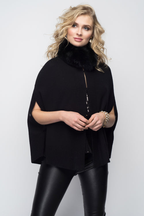 Cashmere Swing Poncho with Fox Collar in Black