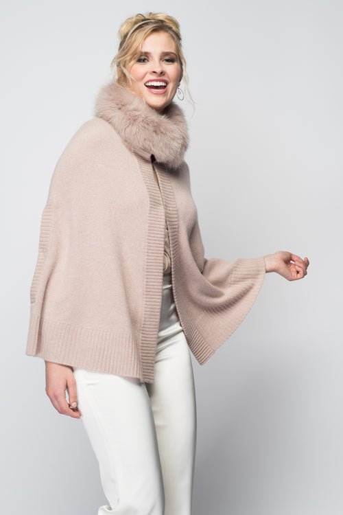 Cashmere Swing Poncho with Fox Collar in Blush