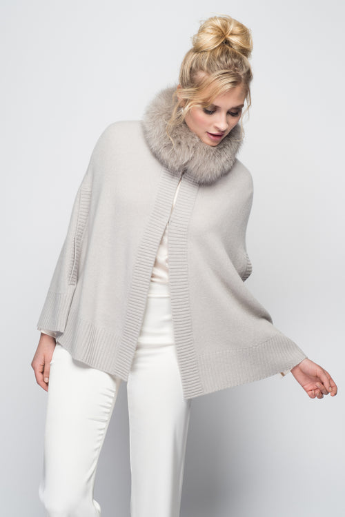 Cashmere Swing Poncho with Fox Collar in Dove Gray