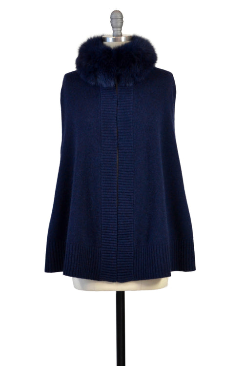 Cashmere Swing Poncho with Fox Collar in Midnight Blue