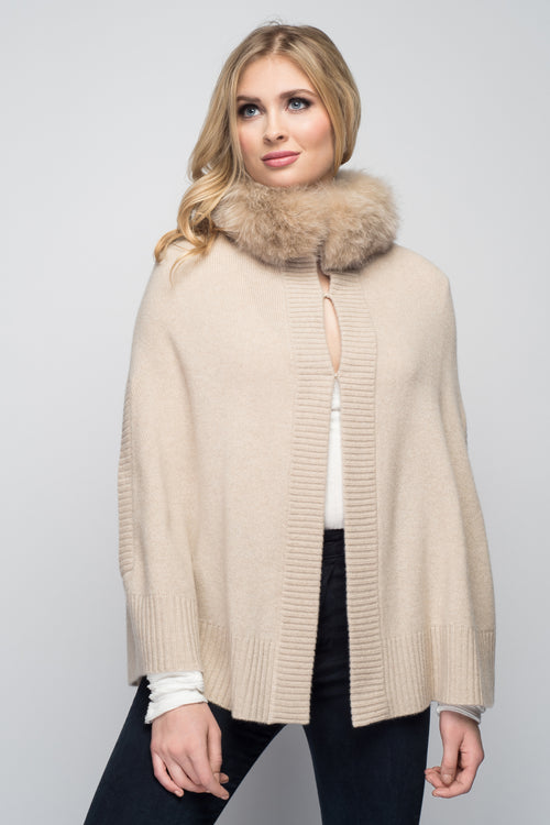 Cashmere Swing Poncho with Fox Collar in Oatmeal