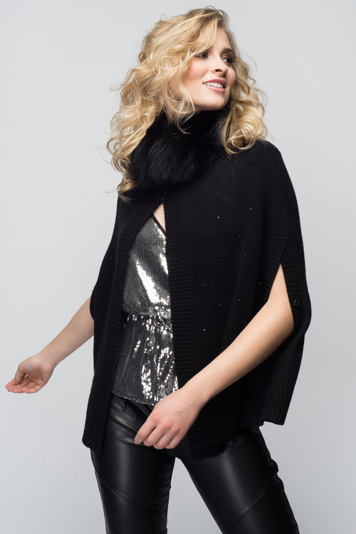 Cashmere Swing Poncho with Fox & Crystals in Black