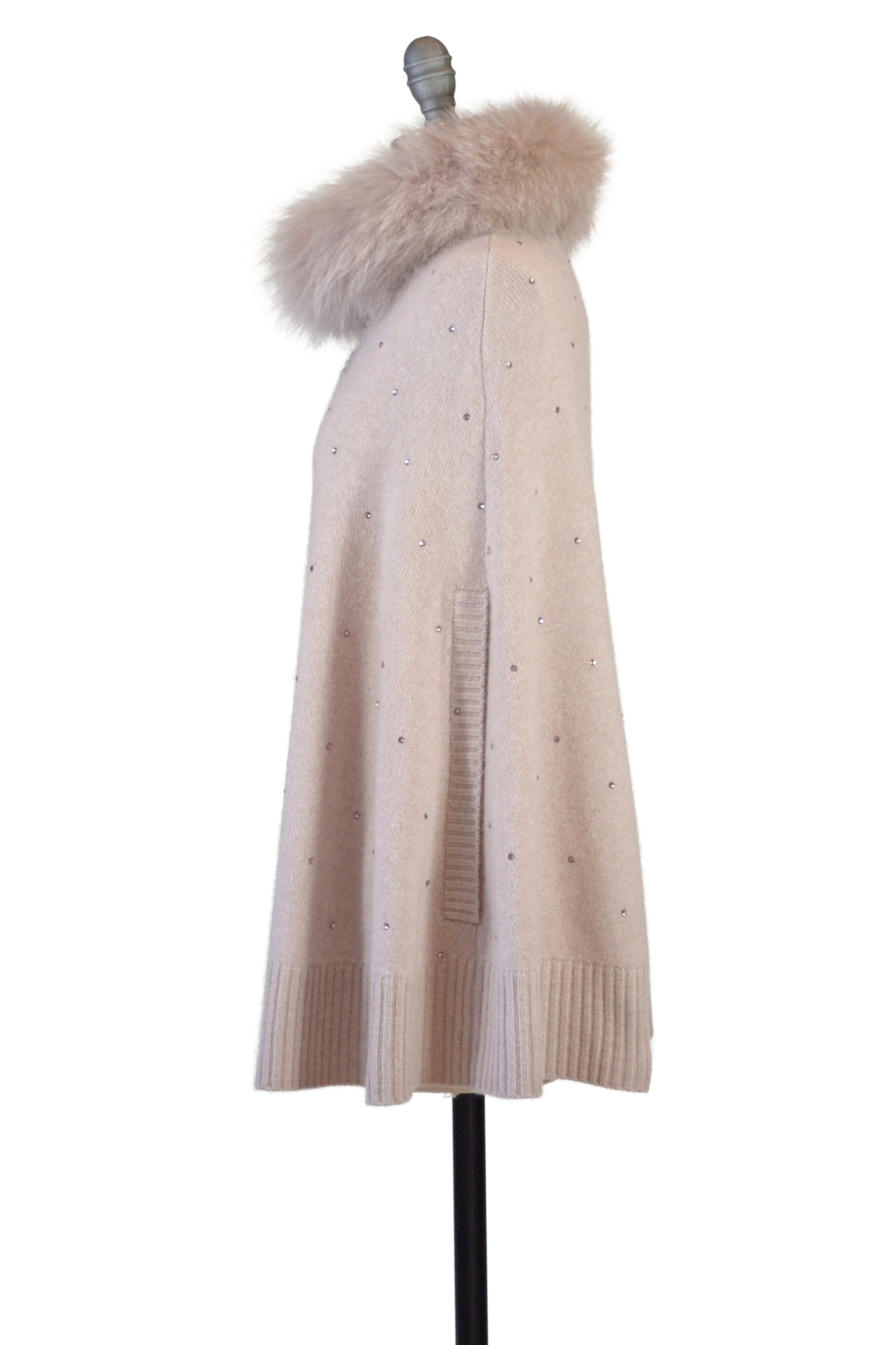 Cashmere Swing Poncho with Fox & Crystals in Blush