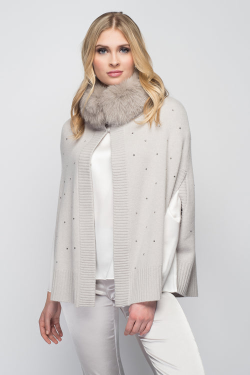 Cashmere Swing Poncho with Fox & Crystals in Dove Gray