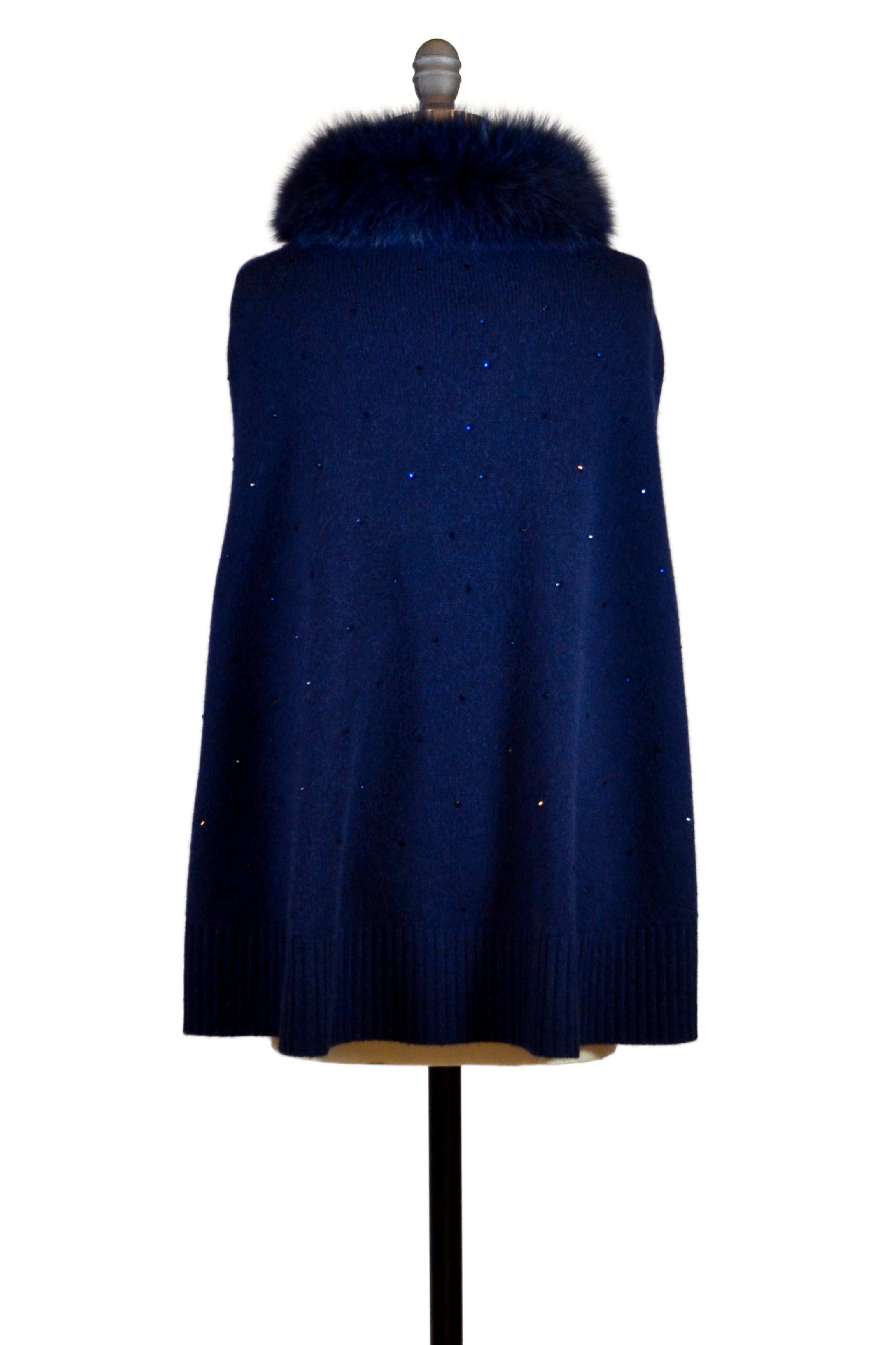 Cashmere Swing Poncho with Fox & Crystals in Midnight Blue