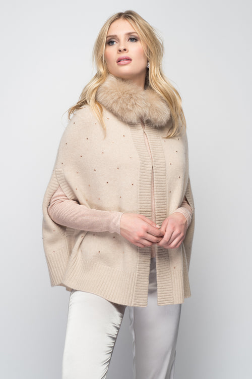 Cashmere Swing Poncho with Fox & Crystals in Oatmeal