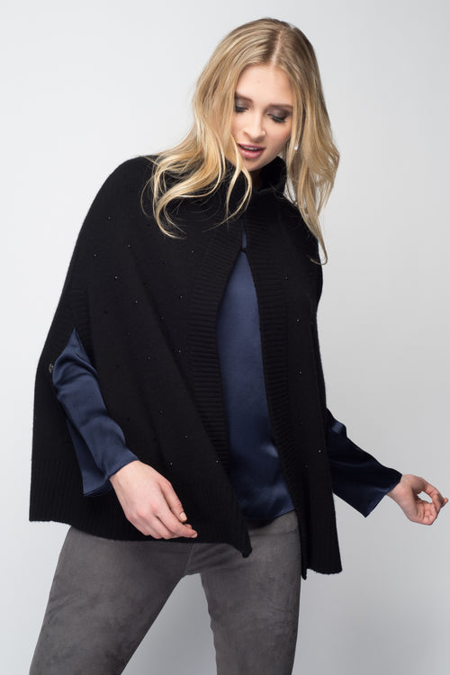 Cashmere Swing Poncho with Crystals in Black