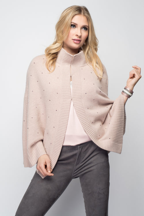 Cashmere Swing Poncho with Crystals in Blush