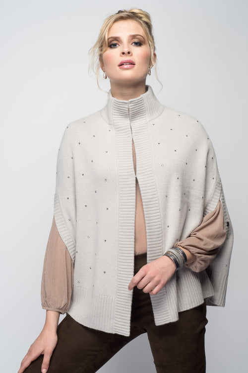Cashmere Swing Poncho with Crystals in Dove Gray