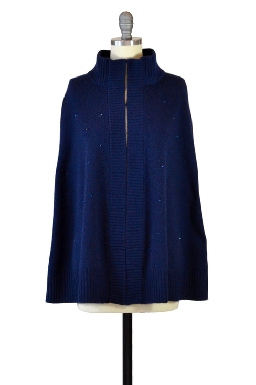 Cashmere Swing Poncho with Crystals in Midnight Blue
