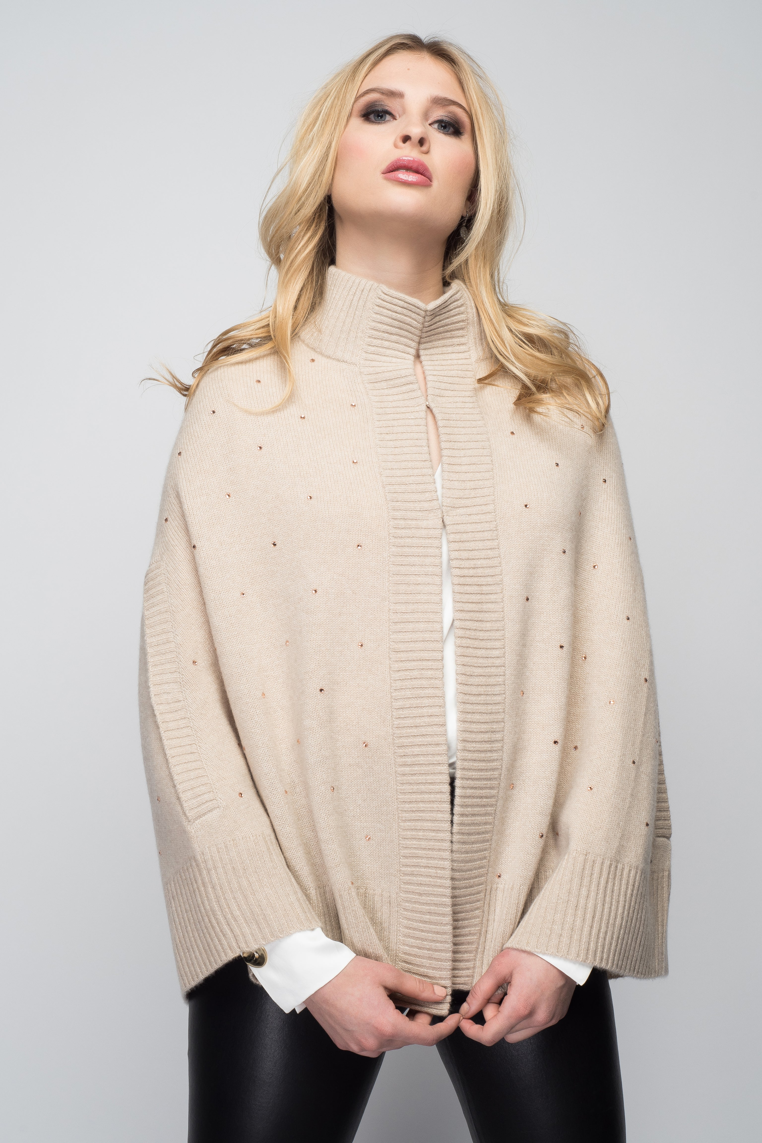 Cashmere Swing Poncho with Crystals in Oatmeal