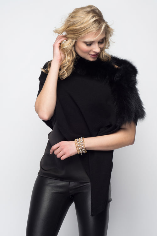 Cashmere Stole with Front Fox Fur Trim in Black