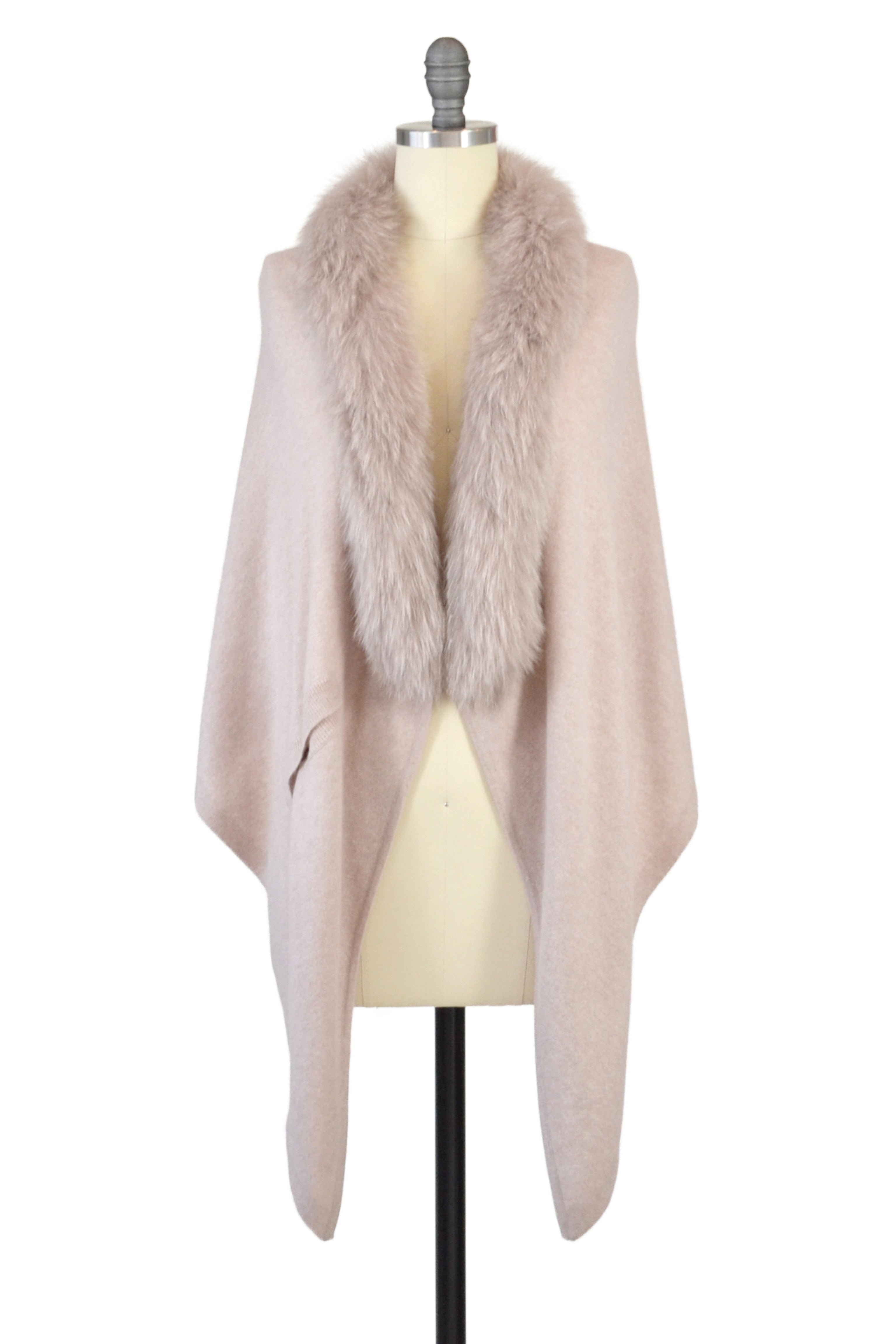 Cashmere Stole with Front Fox Fur Trim in Blush