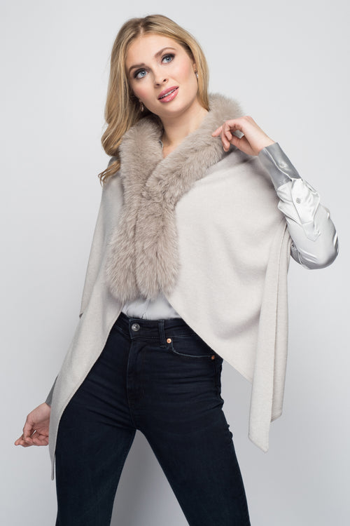 Cashmere Stole with Front Fox Fur Trim in Dove Gray