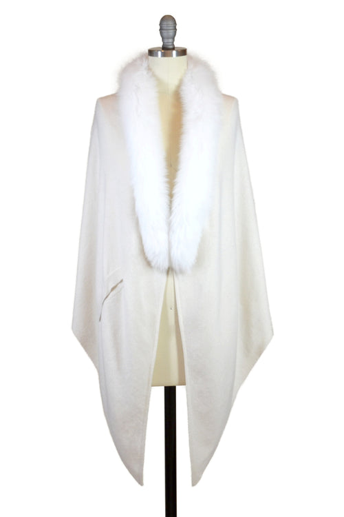 Cashmere Stole with Front Fox Fur Trim in Ivory