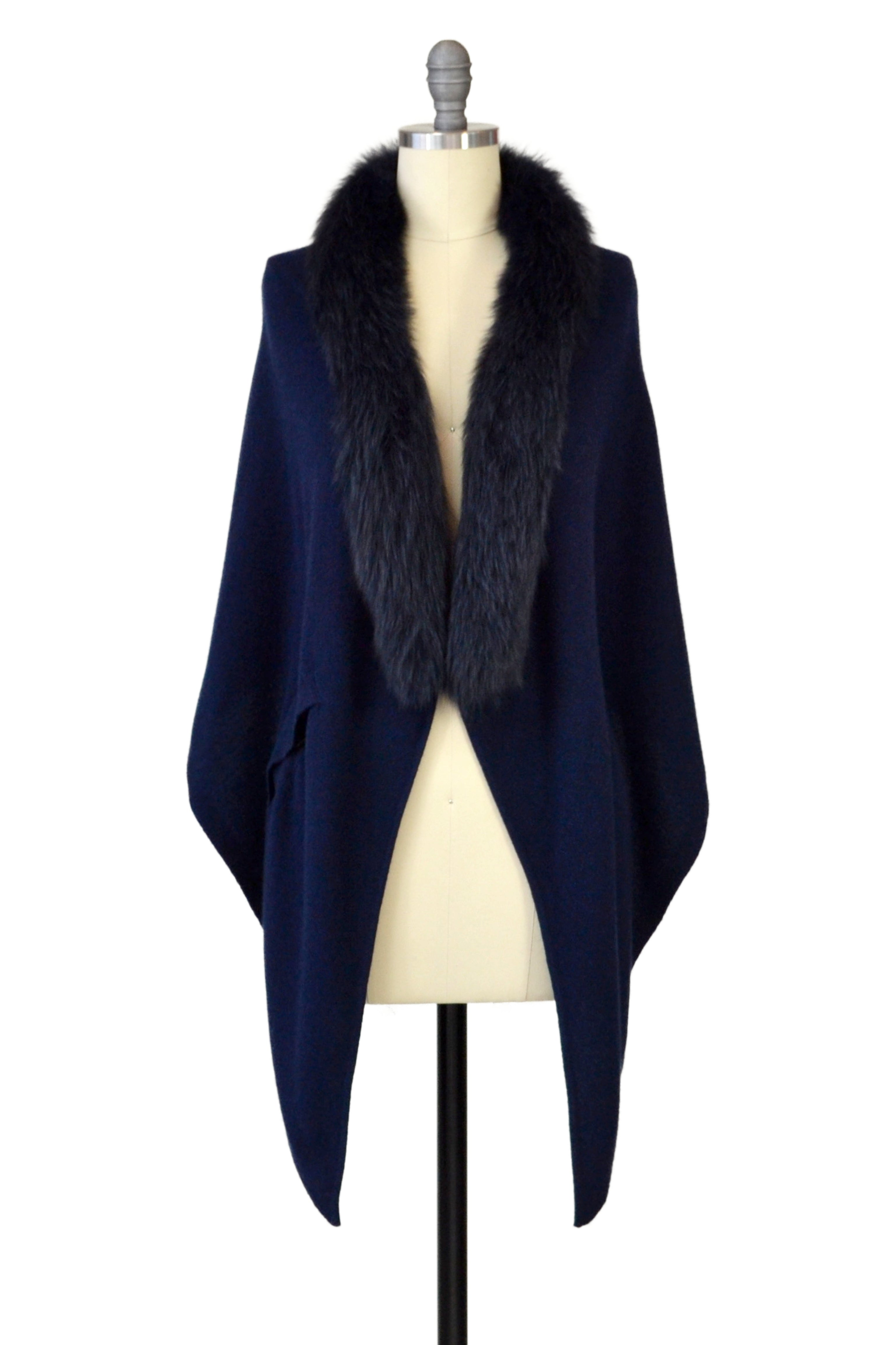 Cashmere Stole with Front Fox Fur Trim in Midnight Blue