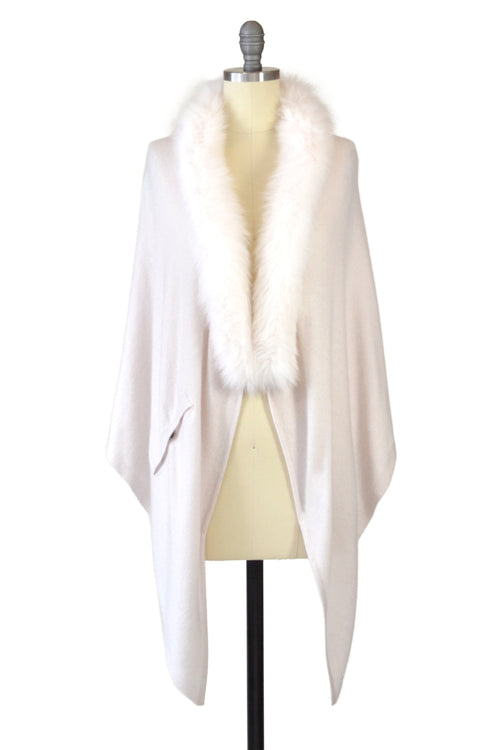 Cashmere Stole with Front Fox Fur Trim in Shell