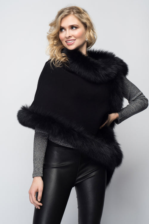 Cashmere Stole with Full Fox Fur Trim in Black