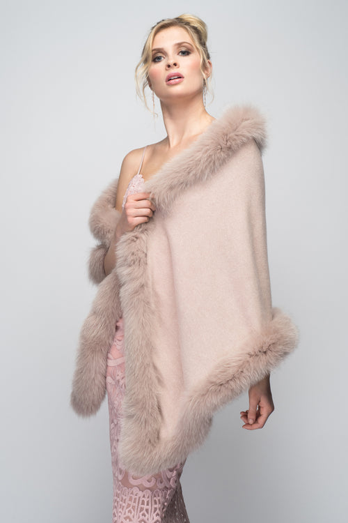 Cashmere Stole with Full Fox Fur Trim in Blush