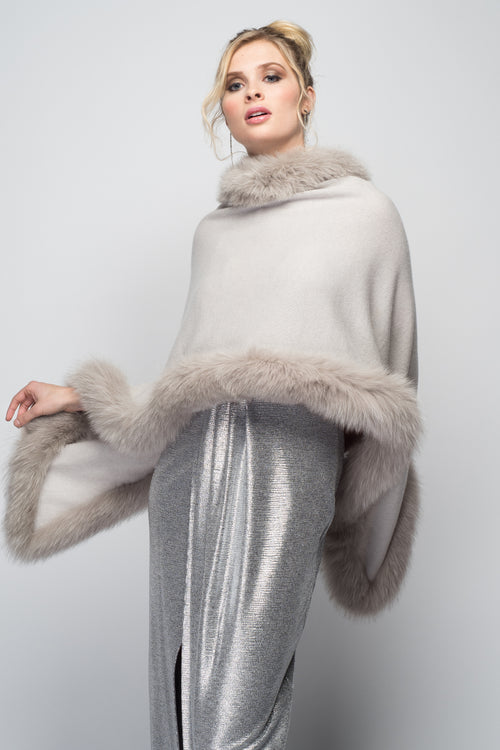 Cashmere Stole with Full Fox Fur Trim in Dove Gray