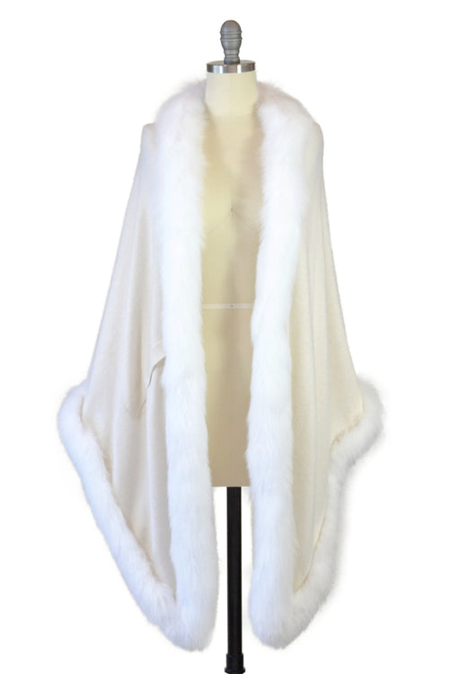 Cashmere Stole with Full Fox Fur Trim in Ivory