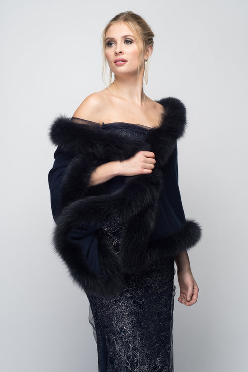 Cashmere Stole with Full Fox Fur Trim in Midnight Blue