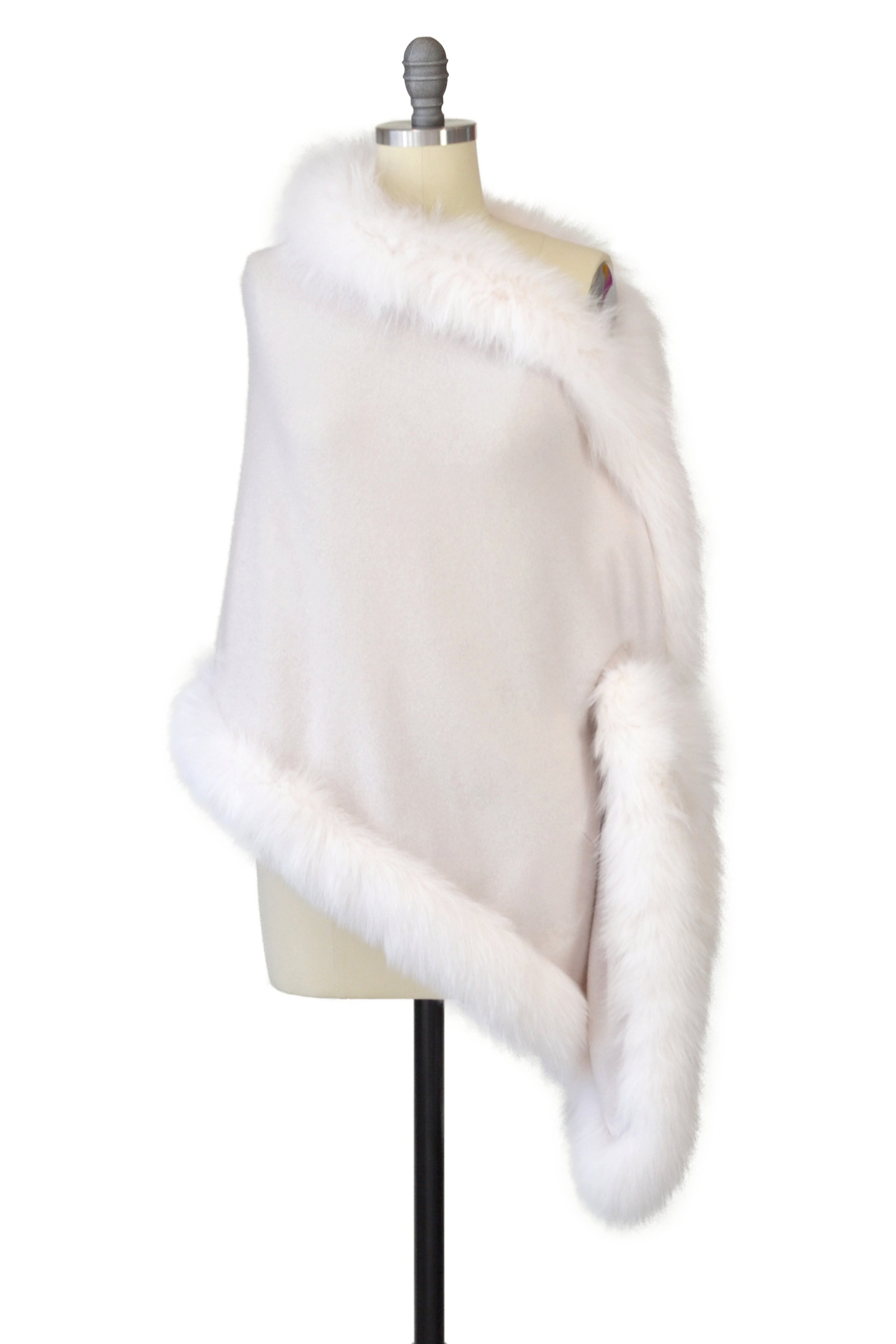 Cashmere Stole with Full Fox Fur Trim in Shell