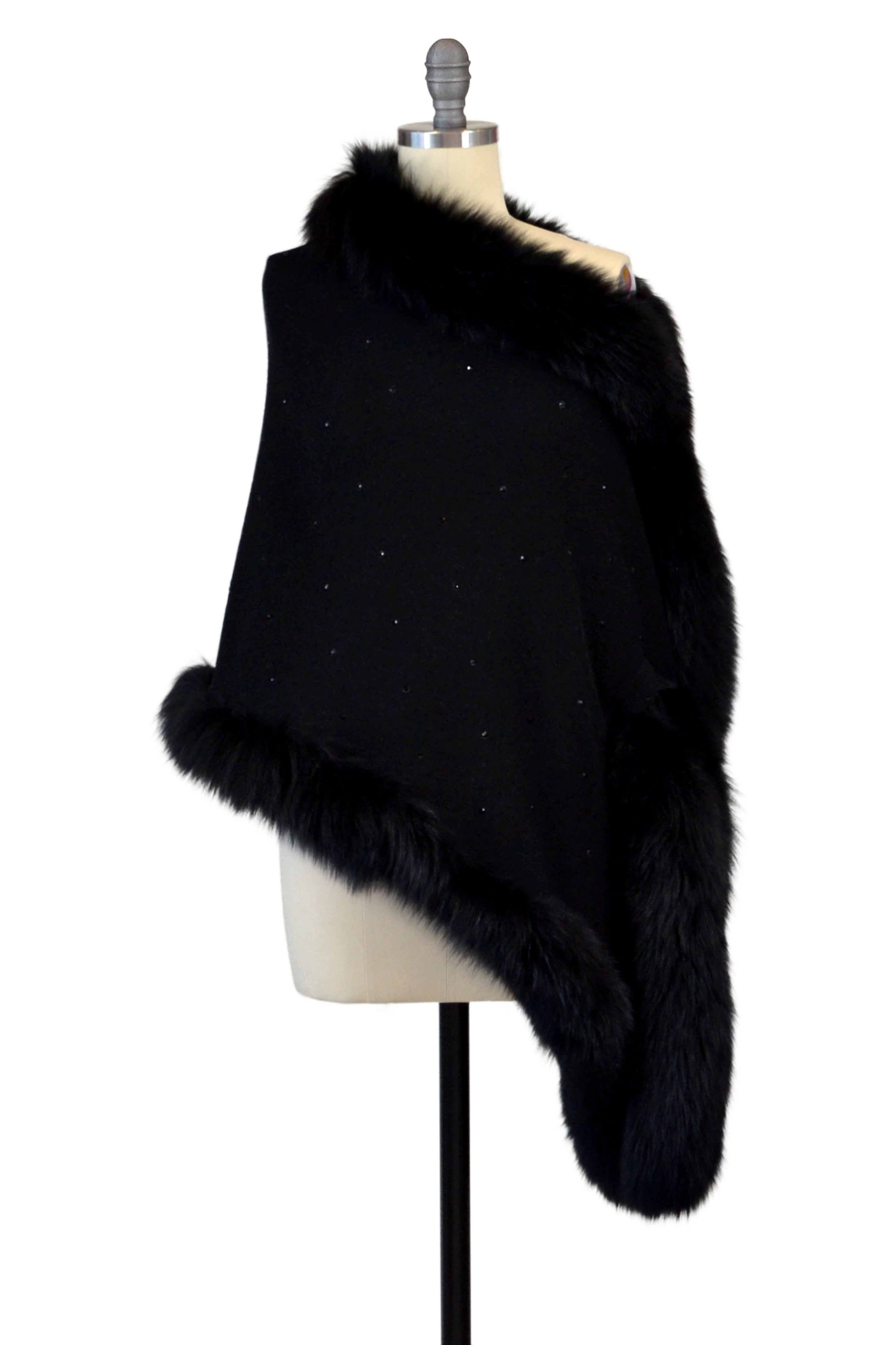 Cashmere Stole with Full Fox Fur & Crystals in Black