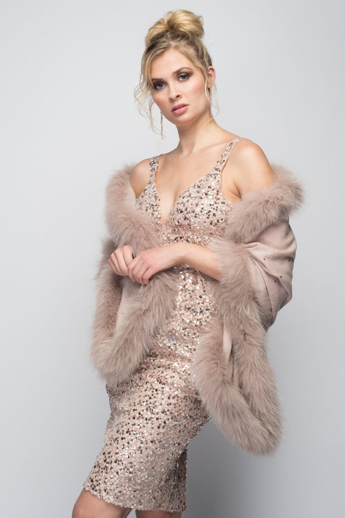 Cashmere Stole with Full Fox Fur & Crystals in Blush
