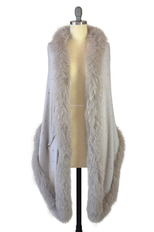 Cashmere Stole with Full Fox Fur & Crystals in Dove Gray