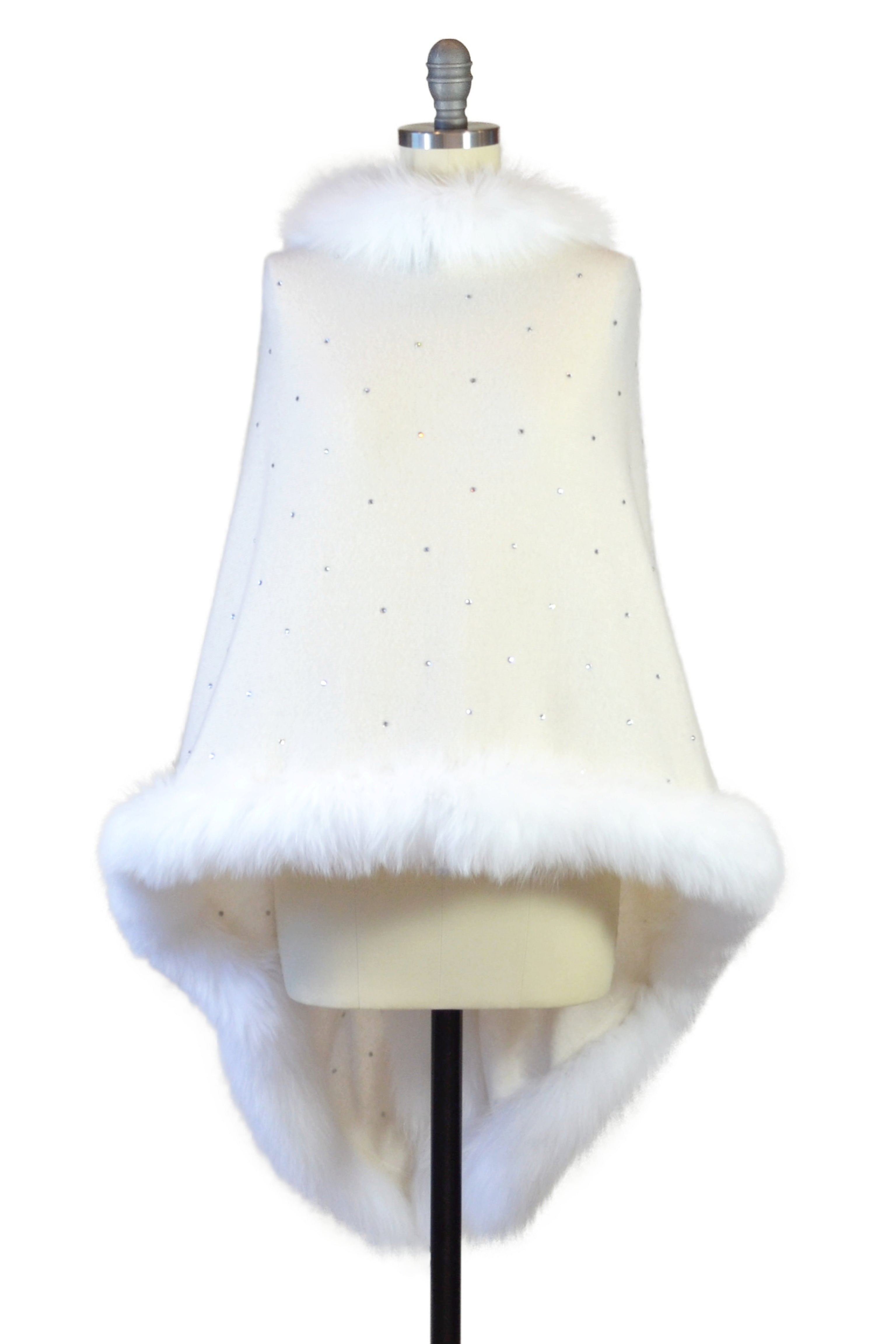 Cashmere Stole with Full Fox Fur & Crystals in Ivory