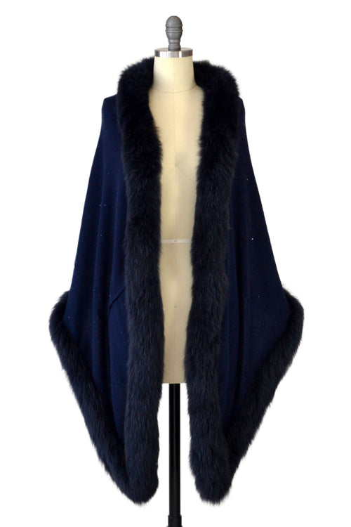 Cashmere Stole with Full Fox Fur & Crystals in Midnight Blue