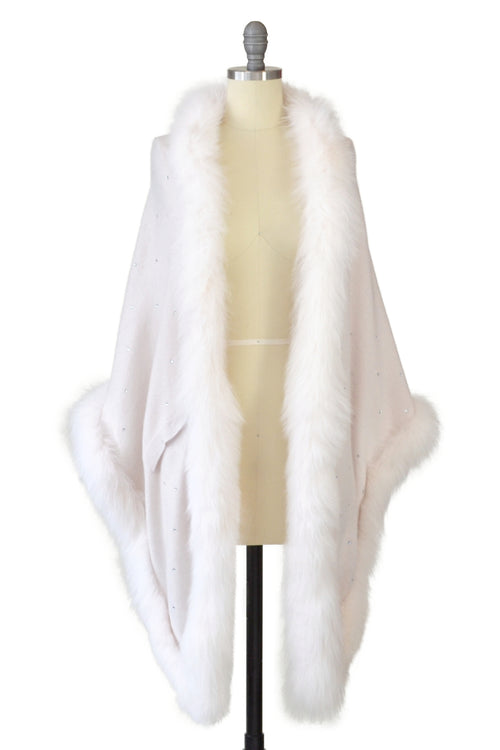 Cashmere Stole with Full Fox Fur & Crystals in Shell