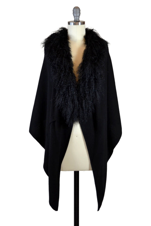 Cashmere Stole with Front Tibetan Sheep Fur in Black
