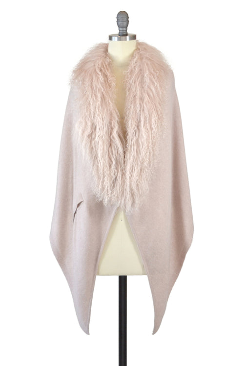 Cashmere Stole with Front Tibetan Sheep Fur in Blush