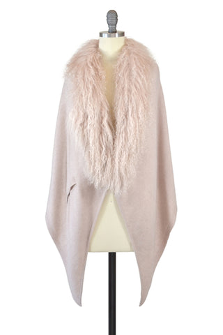 Cashmere Cape with Full Fox Fur Trim in Shell