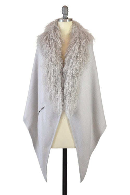 Cashmere Stole with Front Tibetan Sheep Fur in Dove Gray