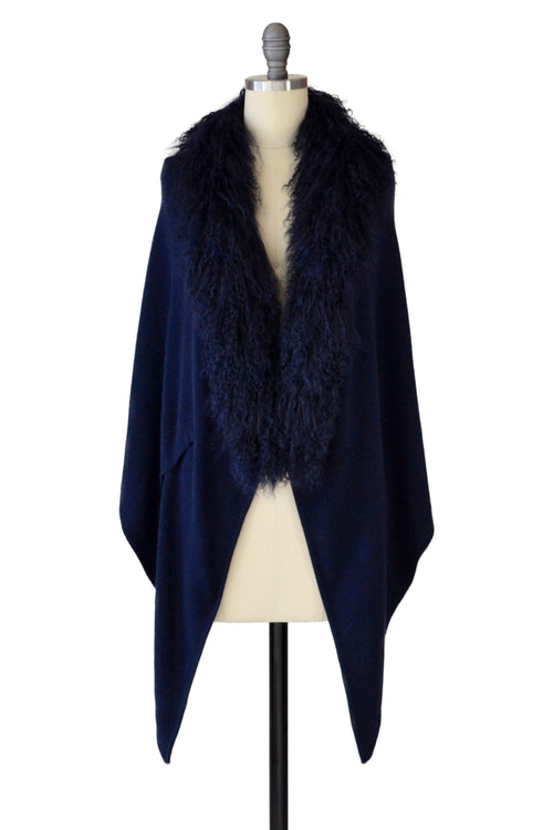 Cashmere Stole with Front Tibetan Sheep Fur in Midnight Blue