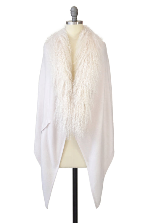 Cashmere Stole with Front Tibetan Sheep Fur in Shell