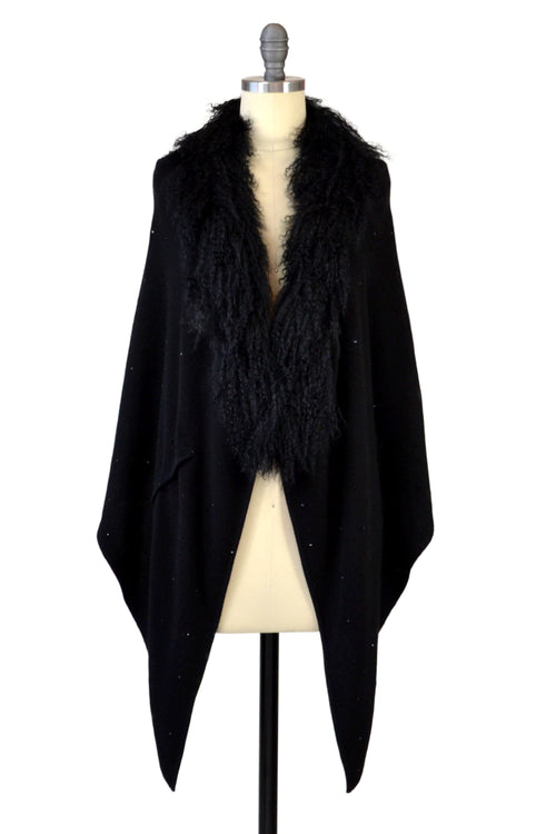 Cashmere Stole with Front Tibetan Sheep Fur & Crystals in Black