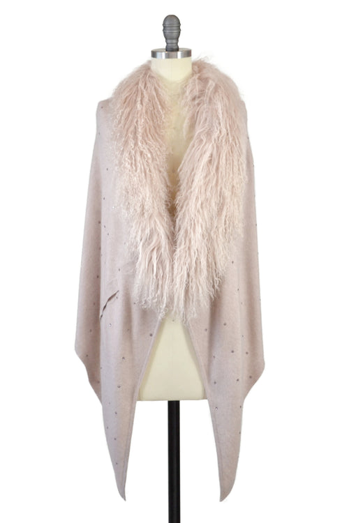 Cashmere Stole with Front Tibetan Sheep Fur & Crystals in Blush