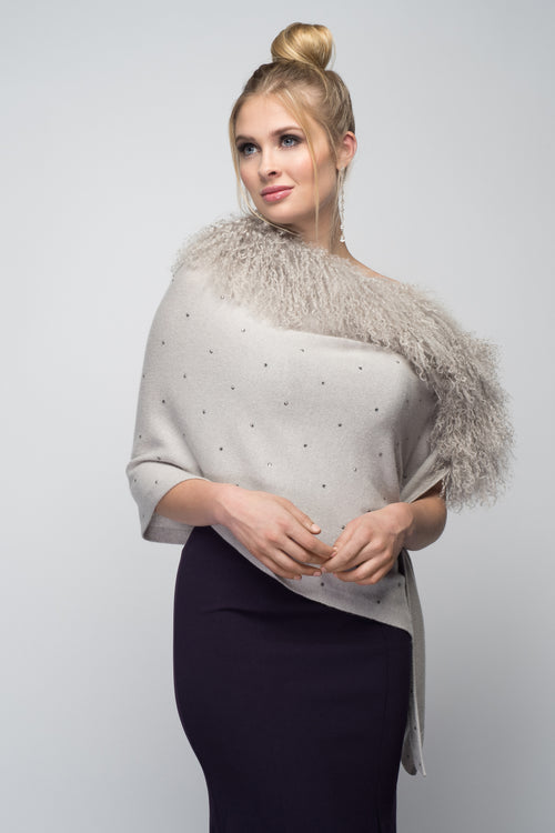 Cashmere Stole with Front Tibetan Sheep Fur & Crystals in Dove Gray