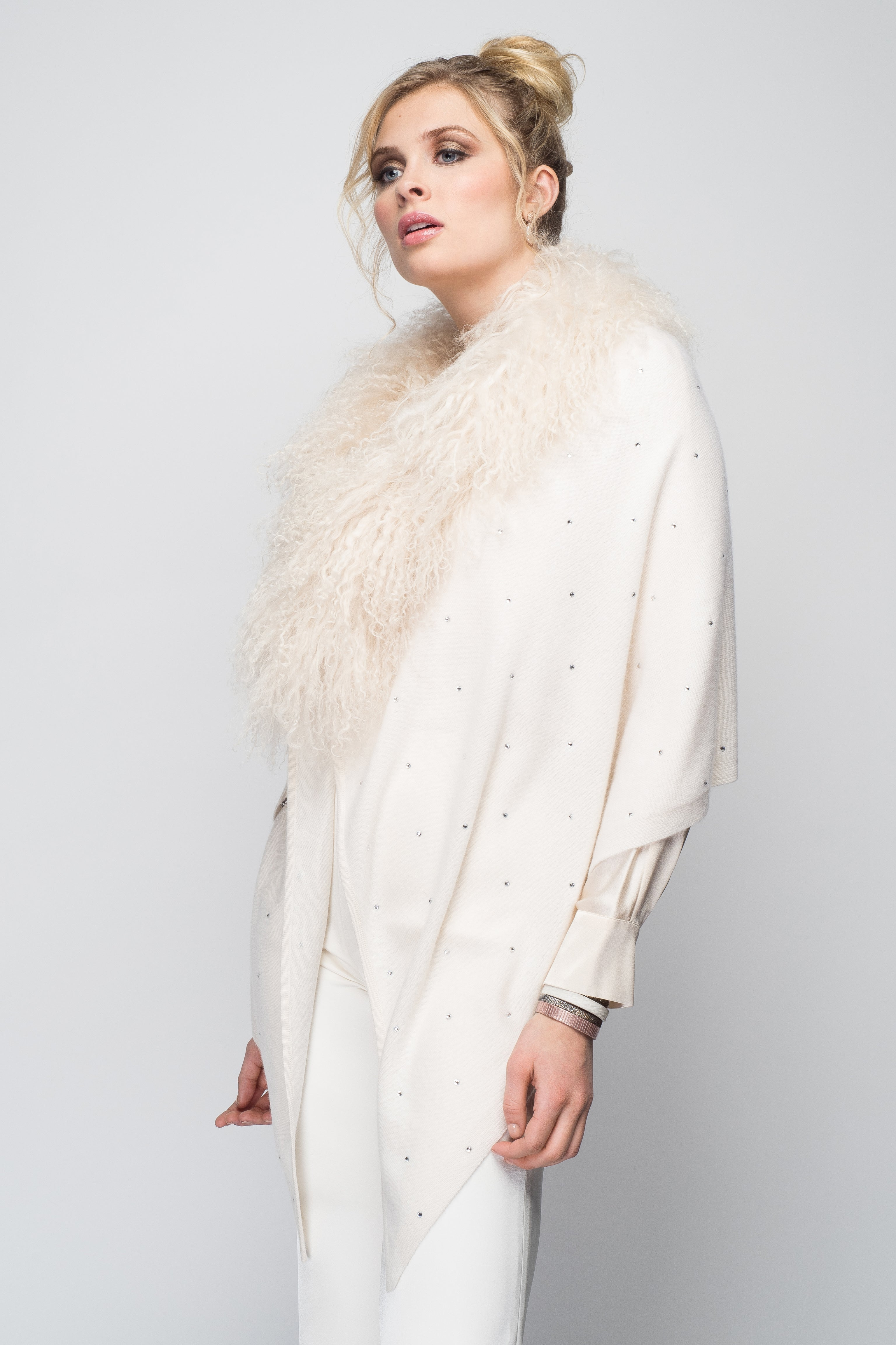 Cashmere Stole with Front Tibetan Sheep Fur & Crystals in Ivory