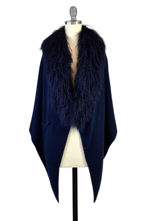 Cashmere Stole with Front Tibetan Sheep Fur & Crystals in Midnight Blue