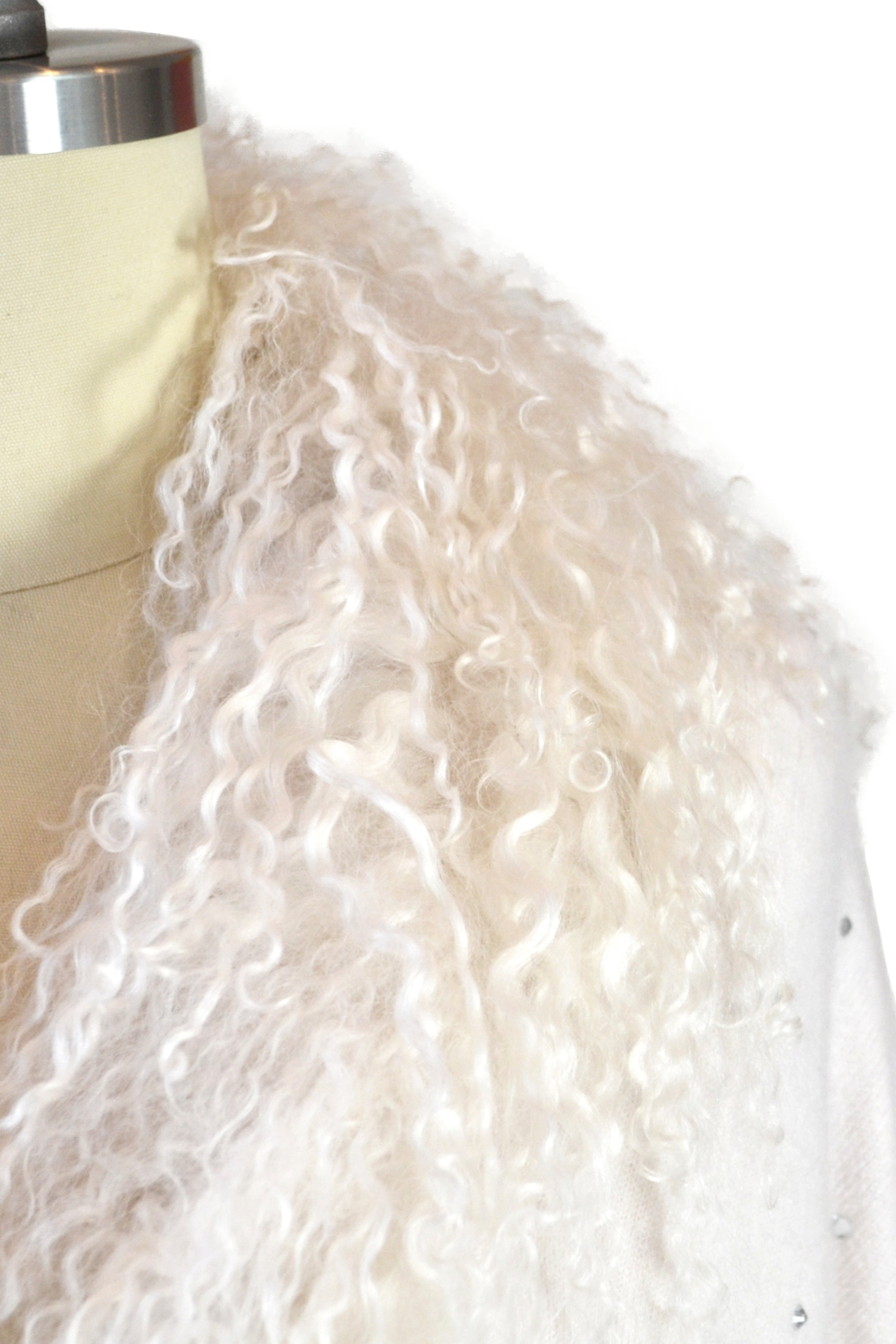 Cashmere Stole with Front Tibetan Sheep Fur & Crystals in Shell