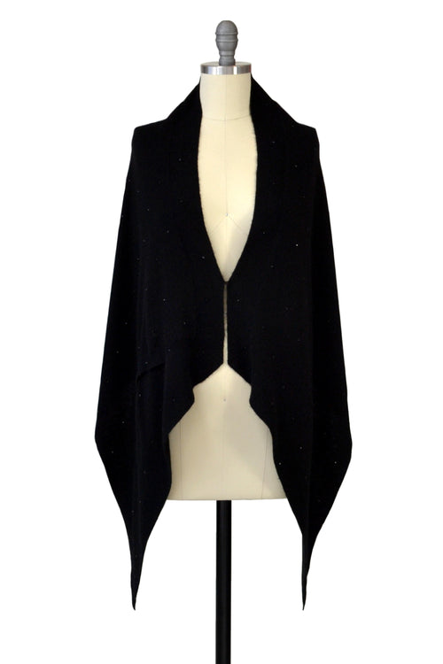 Cashmere Stole with Crystals in Black